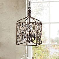 Ashley Crystal Bud Foyer Pendant Lantern in Antique Copper