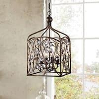Ashley Crystal Bud Foyer Pendant Lantern in Antique Copper