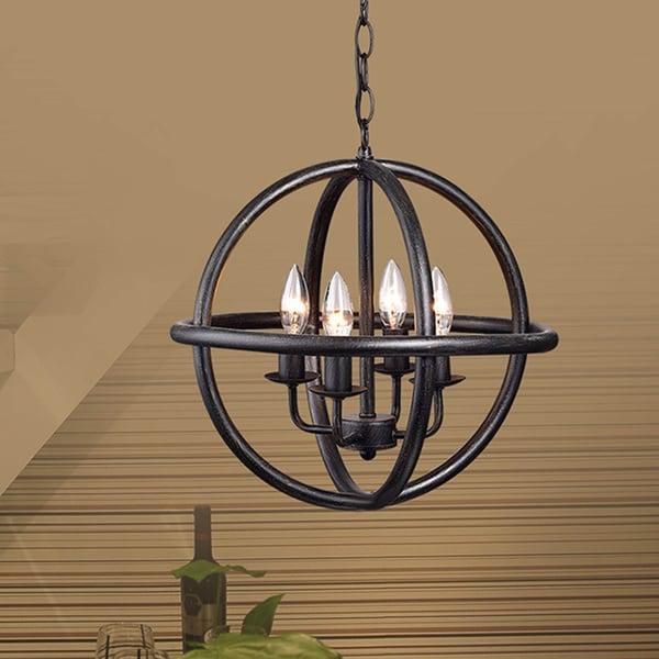 Modern Chandelier Lighting Globe 4 Lights Wood Ceiling: Shop Benita 4-light Antique Black Metal Strap Globe