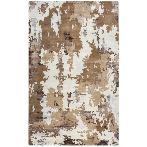 """Rizzy Home Avant-Garde Collection AG2760 Beige and Camel Accent Rug - 3'6"""" x 5'6"""""""