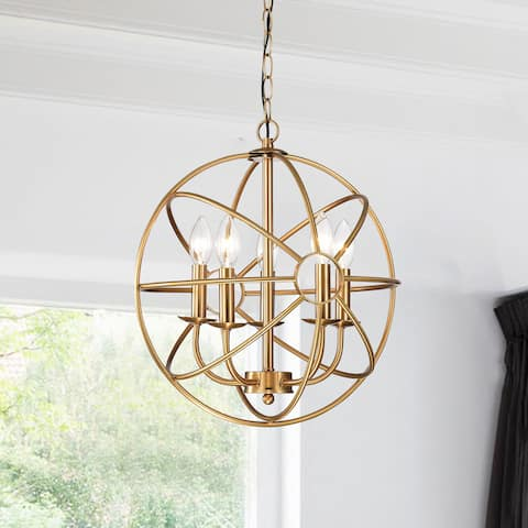 Buy yellow ceiling lights online at overstock our best clay alder home hanover 5 light polished brass metal strap globe chandelier aloadofball Gallery