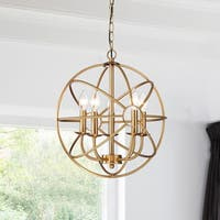 Silver Orchid Dresser 5-light Polished Brass Metal Strap Globe Chandelier