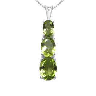 Sterling Silver 2 7/8ct TGW Genuine Peridot Pendant