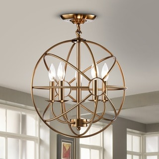 Benita 5-light Polished Brass Metal Strap Globe Flush Mount Chandelier