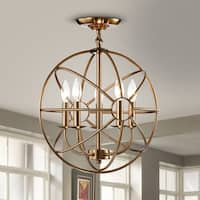 Benita 5-light Polished Brass Metal Strap Globe Flush Mount Chandelier - N/A