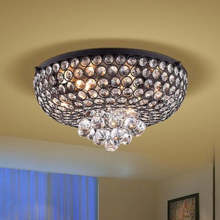 Francisca 4-light Antique Black Flush Mount Crystal Chandelier