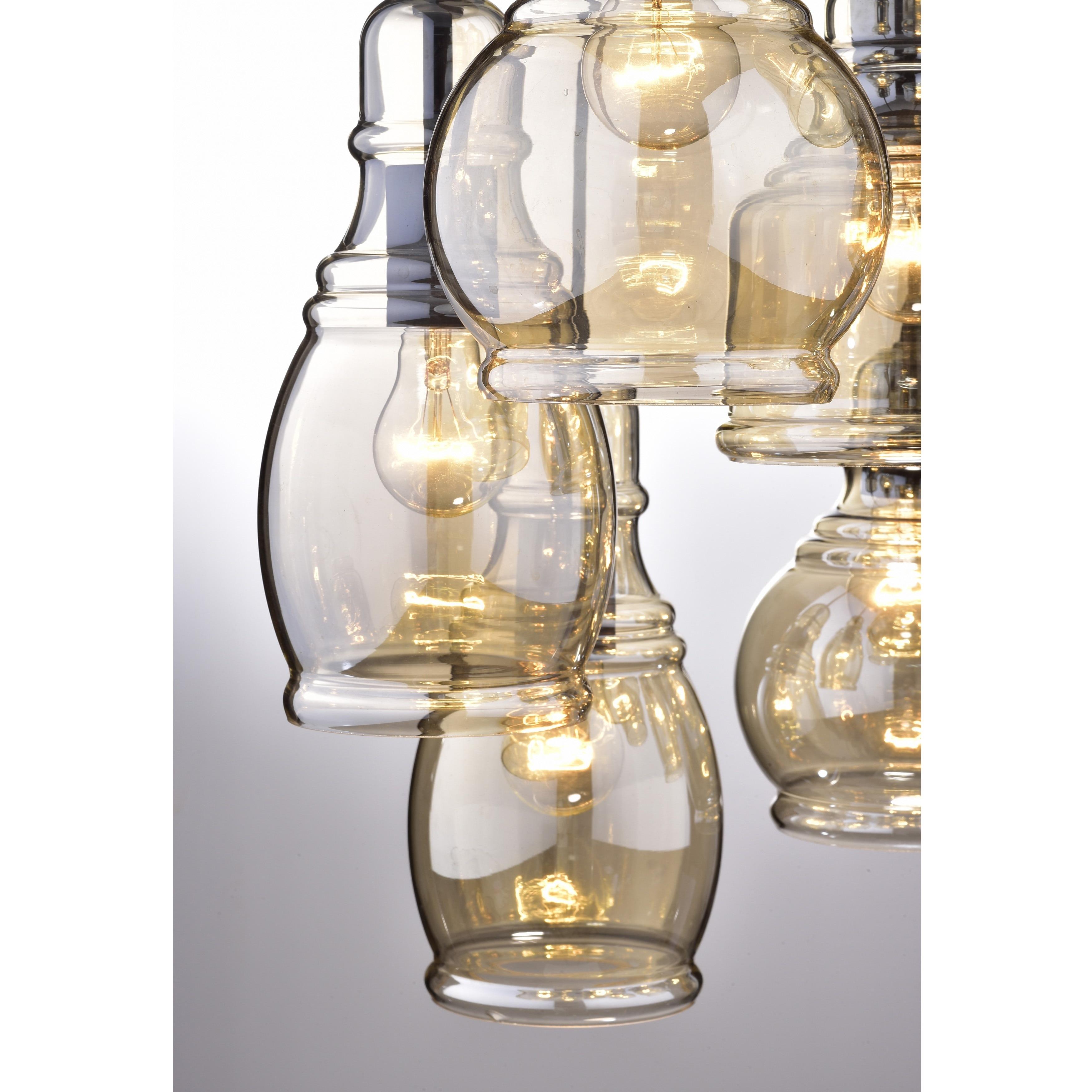Foyer Chandelier Antique Black Mariana Cognac Glass Cluster