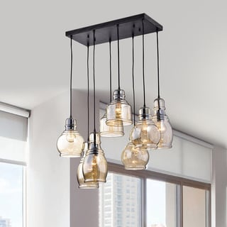 Mariana 8-Light Cognac Glass Cluster Pendant in Antique Black Finish