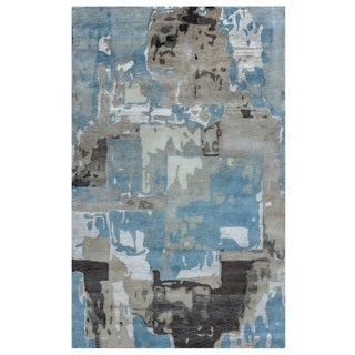 Rizzy Home Avant-Garde Collection AG8925 Khaki and Blue Accent Rug (3'6 x 5'6)
