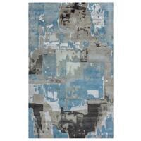 Rizzy Home Avant-Garde Collection AG8925 Blue and Khaki Area Rug (9'x 12')