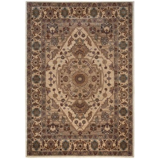 Rizzy Home Bellevue Collection BV3206 Tan and Burgundy Area Rug (6'7 x 9'6)