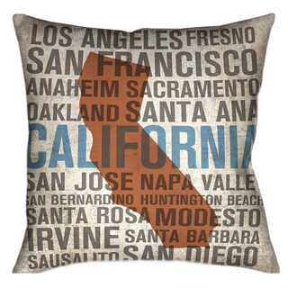 Laural Home California Typographic Decorative 18-inch Throw Pillow