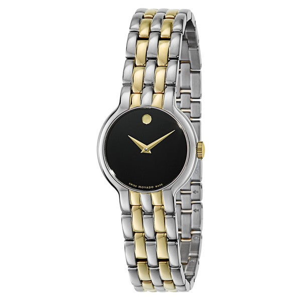 Movado Women S 0606933 Veturi Two Tone Stainless Steel Black Dial Watch Silver