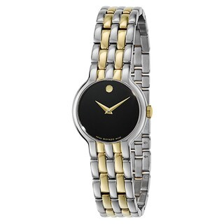 Movado Women's 0606933 Veturi Two-tone Stainless Steel Black Dial Watch - Silver