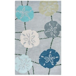 Rizzy Home Cabot Collection CA9464 Grey and Blue Area Rug (5'x 8') - 5' x 8'