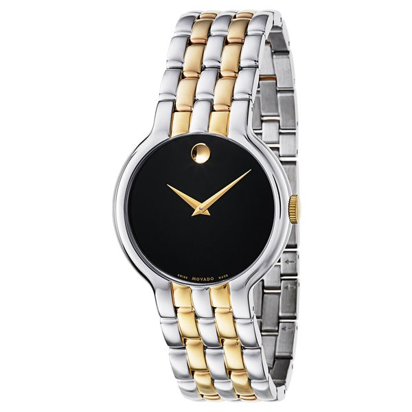 Movado Men's 0606932 Veturi Two-tone Stainless Steel Black Dial Gold-Tone Hands Watch