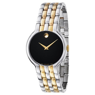 Movado Men's Veturi Two-tone Stainless Steel Black Dial Goldtone Hands Watch