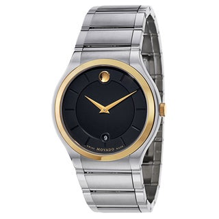 Movado Men's 0606954 Quadro Two-tone Stainless Steel Black Dial Watch