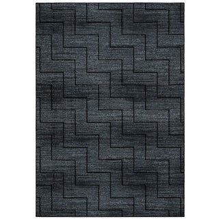 Rizzy Home Carrington Collection CG5514 Grey and Black Area Rug (5'3 x 7'7)