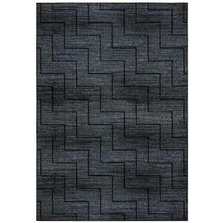 Rizzy Home Carrington Collection CG5514 Black and Grey Area Rug (6'7 x 9'6)