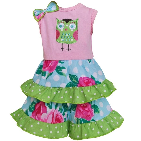 AnnLoren Rose Dot Owl Tunic and Capri 18-inch Doll Clothing Set