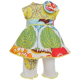AnnLoren Floral Lattice 18-inch Doll Dress and Legging Set