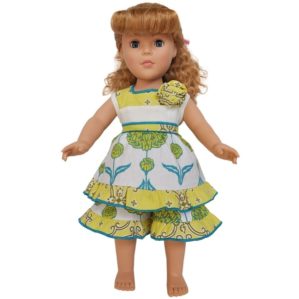 AnnLoren Yellow Floral and Lattice Dress Capri 18-inch Doll Clothing Set