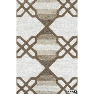 Rizzy Home Catrine Collection Blue and Khaki Area Rug (5'x 8')