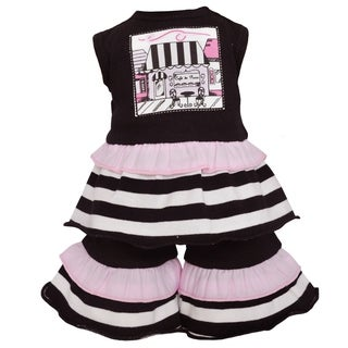 AnnLoren Paris Cafe Black Stripe 18-inch Doll Clothing Set