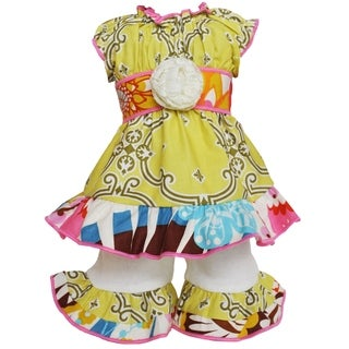 AnnLoren Lattice Floral Dress and Shorts 18-inch Doll Clothing Set