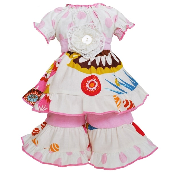 AnnLoren Pink Floral and Polka Dot Dress 18-inch Doll Clothing Set