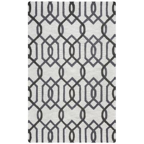 Berlin Collection Dark Grey Geometric Rug