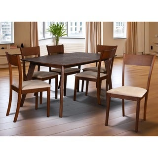 Olivia Mid-Century 7-piece Living Room Brown Extendable Dining Set