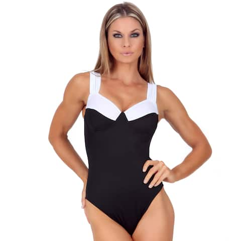 InstantFigure Women's One-Piece Contrast Top Swimsuit