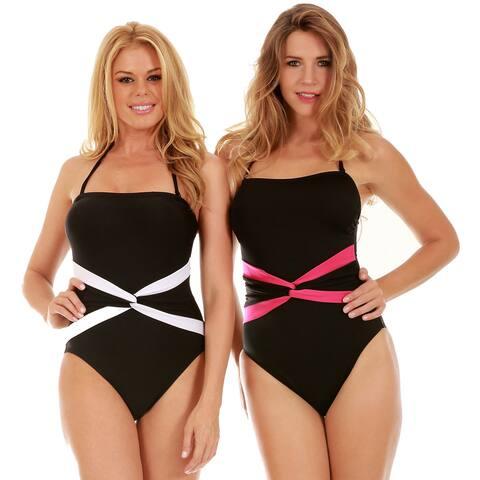 InstantFigure Women's One-Piece Contrast Twist Front Swimsuit