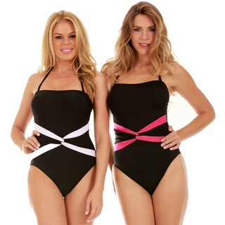 InstantFigure Women's One-Piece Contrast Twist Front Swimsuit