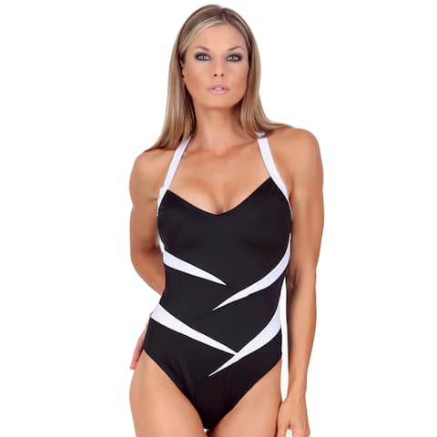 InstantFigure Women's One-Piece Two-Tone Swimsuit