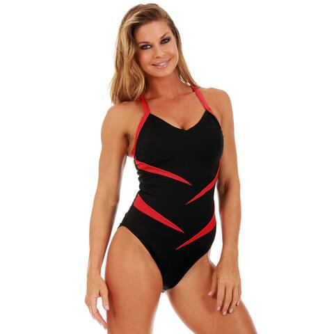 InstantFigure Women's One-Piece Two-Tone Swimsuit