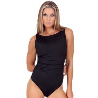 InstantFigure Women\u0027s One-Piece High-Neck Shirred Swimsuit