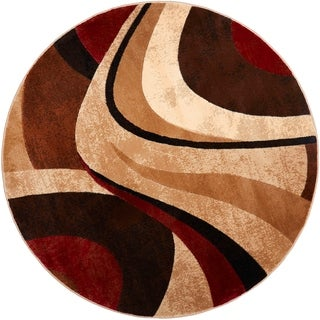 Home Dynamix Tribeca Collection HD5382-539 Brown-Red Area Rug (7'10 Round) - 7'10