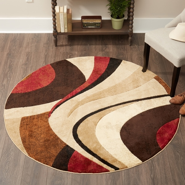 Home Dynamix Tribeca Collection Contemporary Brown-Red Area Rug - 5'2