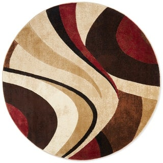 Home Dynamix Tribeca Collection HD5382-539 Brown-Red Area Rug (5'2 Round)