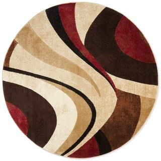 Home Dynamix Tribeca Collection Contemporary Brown-Red Area Rug (5'2 Round) - 5'2