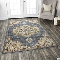 Rizzy Home Bennington Collection Blue and Black Accent Rug - 3'3 x 5'3