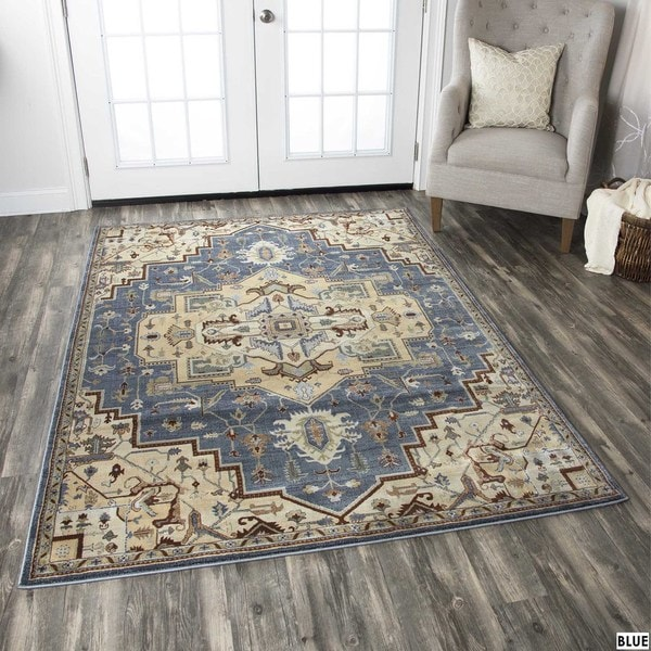 Rizzy Home Bennington Collection Blue and Black Accent Rug (3'3 x 5'3) - 3'3 x 5'3