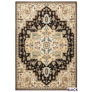 Rizzy Home Bennington Collection Blue and Black Accent Rug (33 x 53) - 33 x 53 (Black/Ivory)