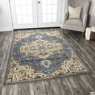 Rizzy Home Bennington Collection Blue Area Rug (6'7 x 9'6)