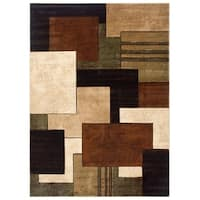 Home Dynamix Tribeca Collection Contemporary Brown-Green Area Rug - 3'3 x 4'7