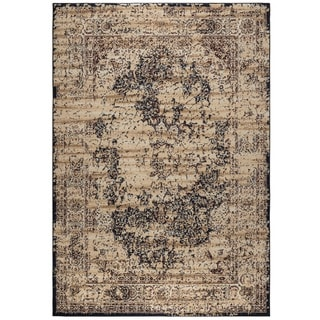 Rizzy Home Bennington Collection BI5557 Ivory, Black Area Rug (6'7 x 9'6)