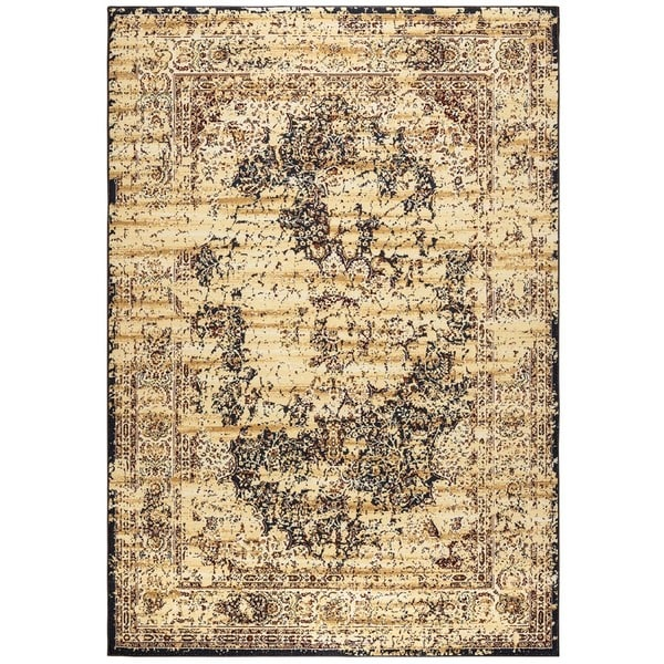 "Rizzy Home Bennington Collection BI5557 Ivory, Black Area Rug (6'7 x 9'6) - 6'7"" x 9'6"""